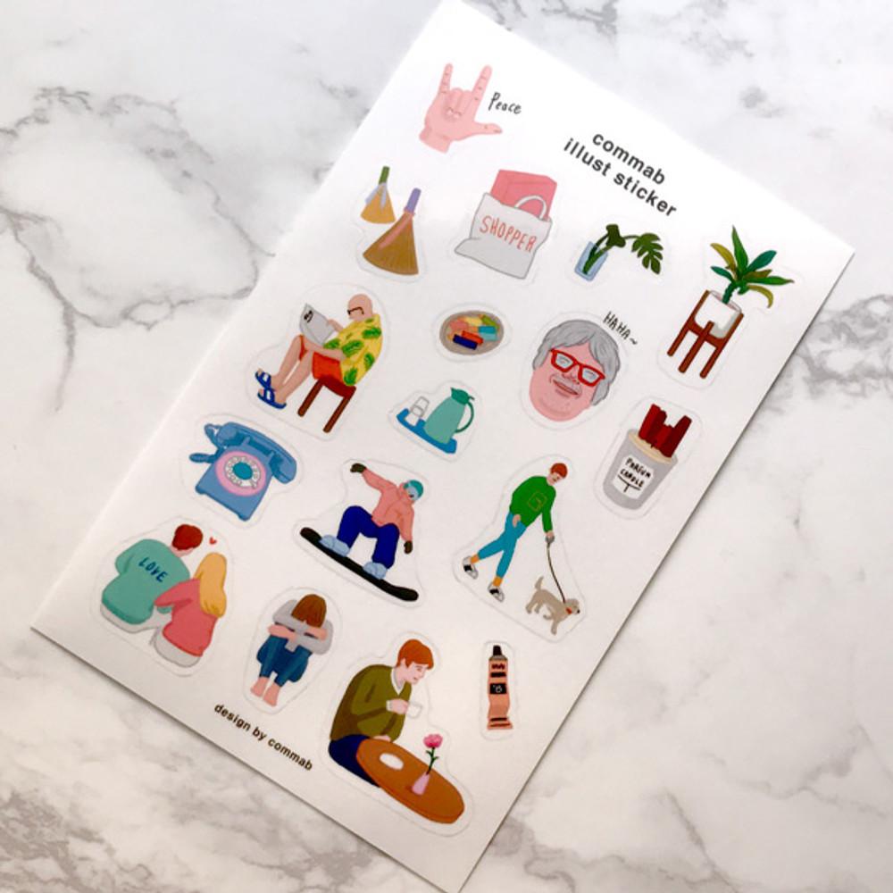 CommaB illustration transparent clear sticker