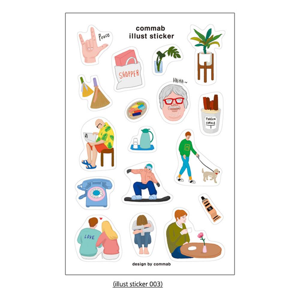 03 - CommaB illustration transparent clear sticker