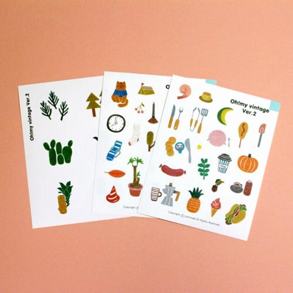 Oh my vintage illustration paper sticker set of 3 sheets