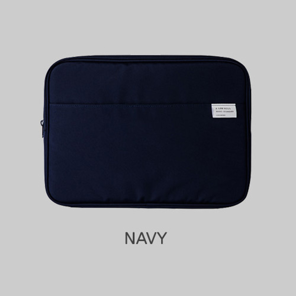 """Navy - A low hill basic pocket 13"""" laptop pouch case ver5"""