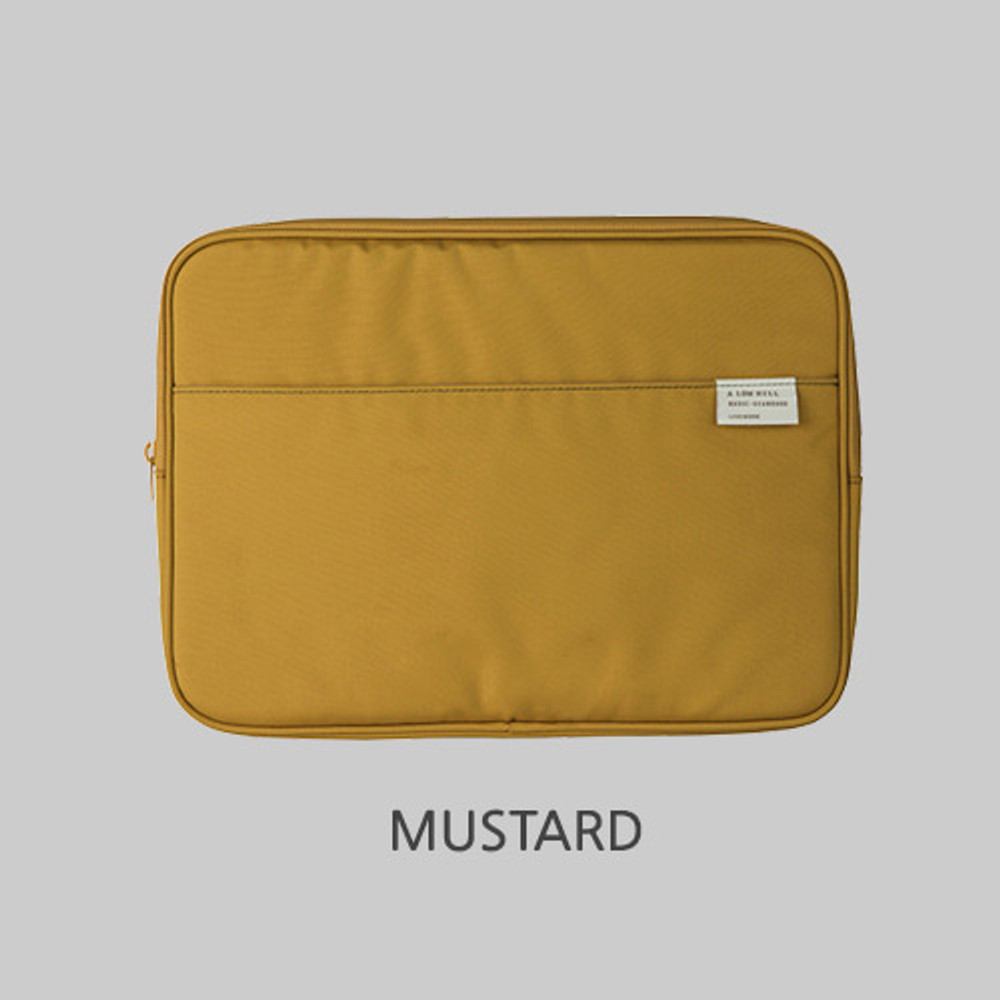 """Mustard - A low hill basic pocket 13"""" laptop pouch case ver5"""