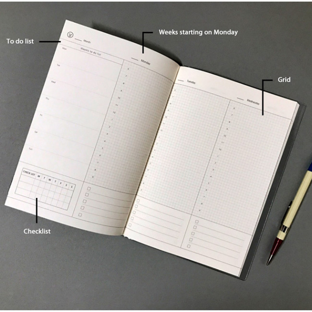 Weekly plan - Record 3 months dateless weekly diary