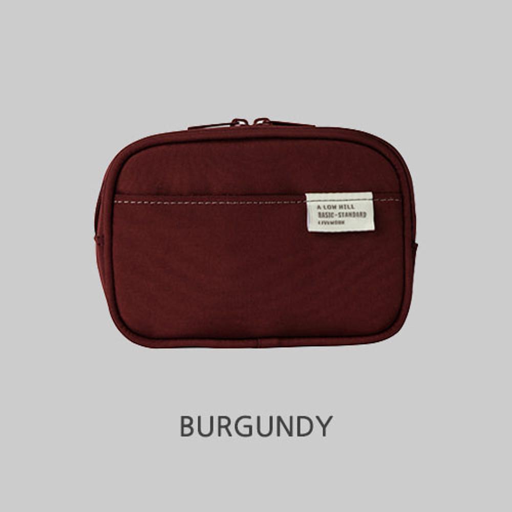 Burgundy - A low hill basic pocket camera zipper pouch case ver5