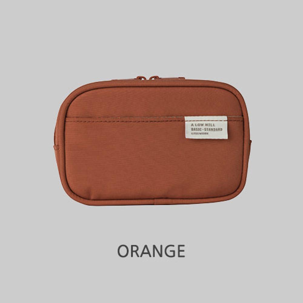 Orange - A low hill basic pocket camera zipper pouch case ver5