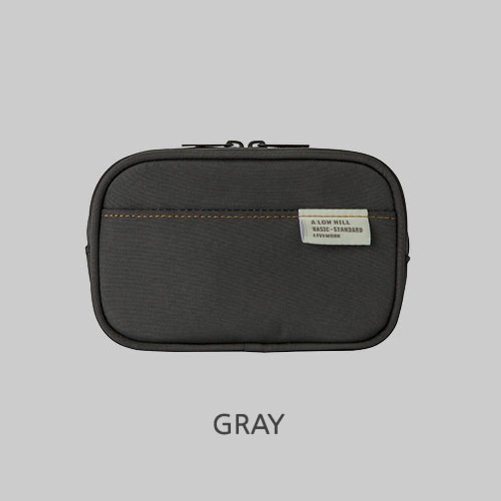 Gray - A low hill basic pocket camera zipper pouch case ver5