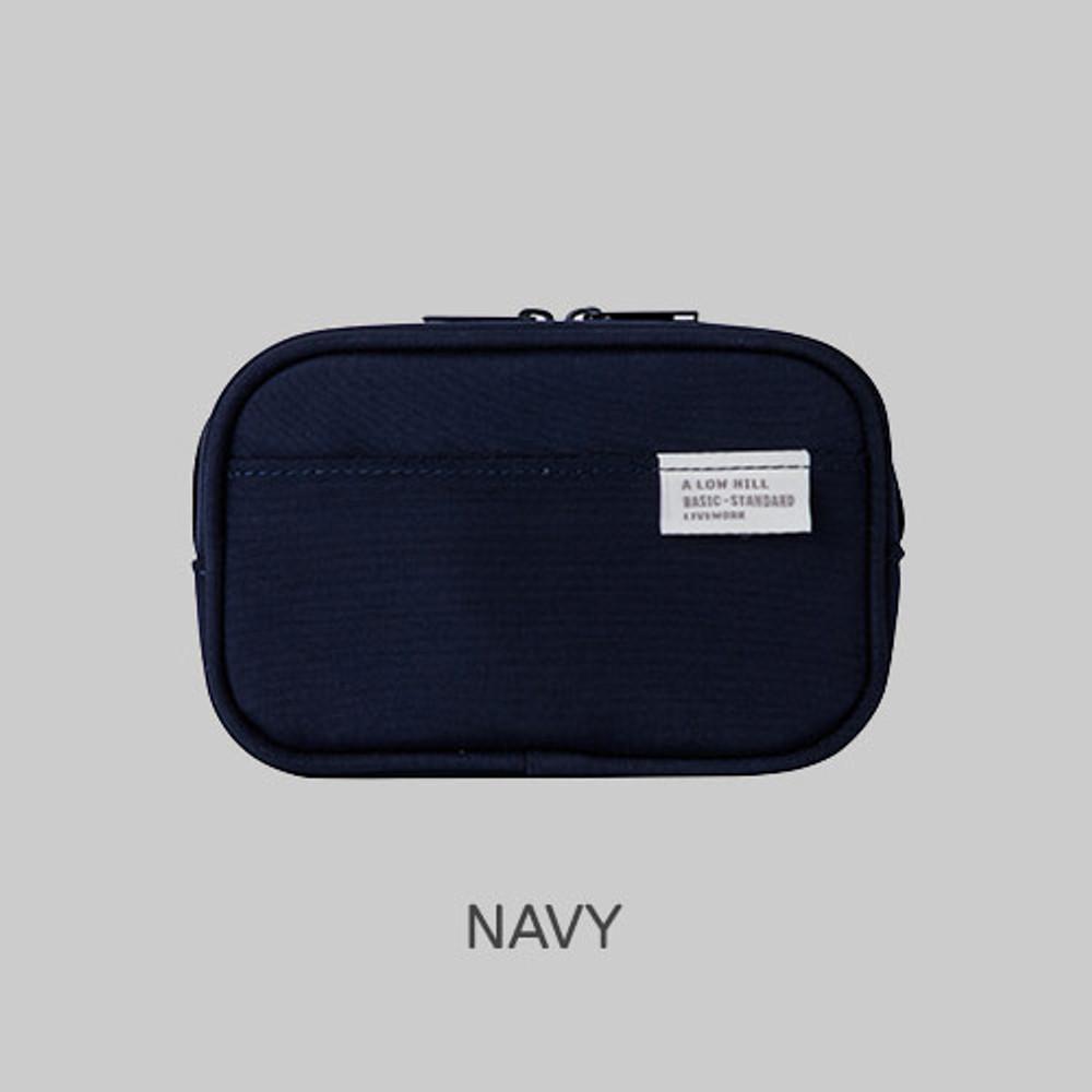 Navy - A low hill basic pocket camera zipper pouch case ver5