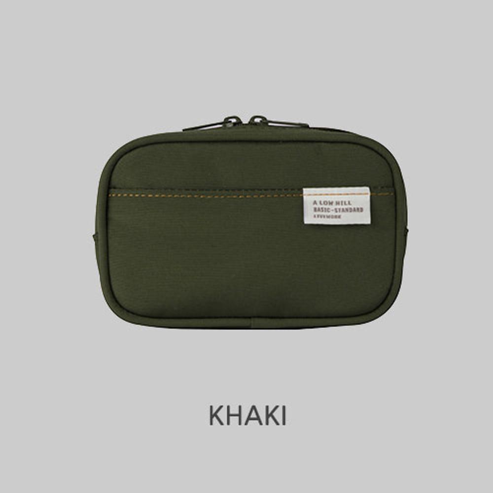 Khaki - A low hill basic pocket camera zipper pouch case ver5