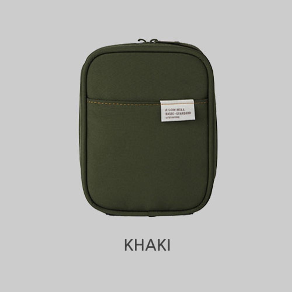 Khaki - Livework A low hill basic pocket cable zipper pouch case ver5