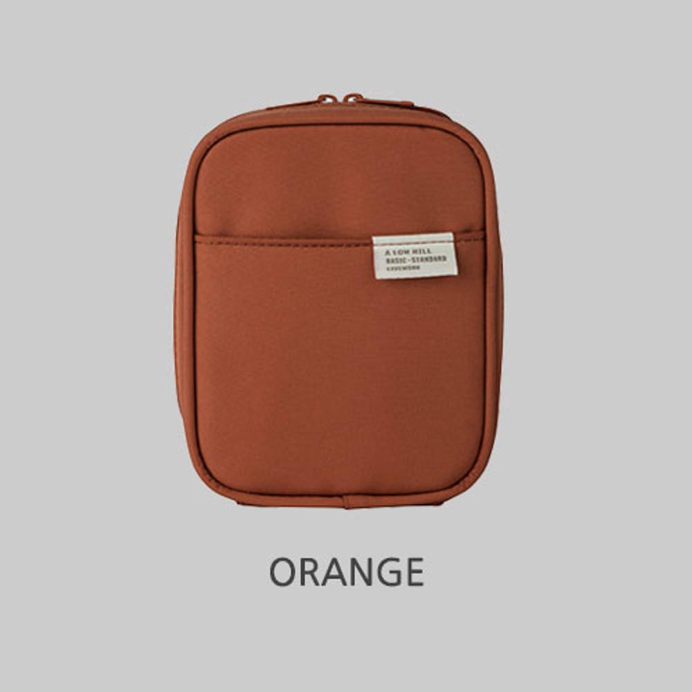 Orange - Livework A low hill basic pocket cable zipper pouch case ver5