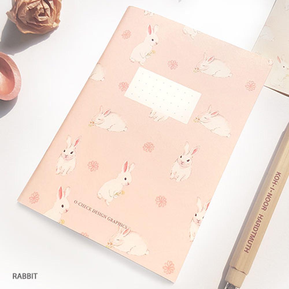 Rabbit - O-CHECK Spring come small dot school notebook