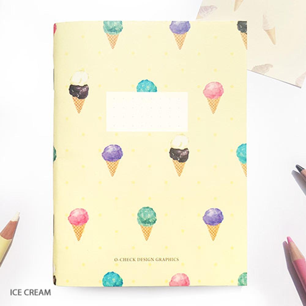 Ice cream - O-CHECK Spring come small dot school notebook