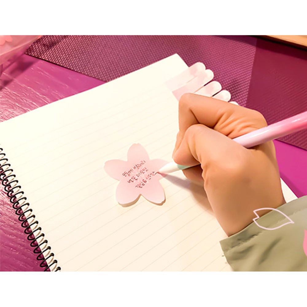 Example of use - Oev cherry blossom sticky memo it notepad set