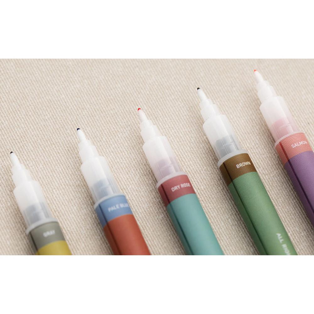 pointed tip - Livework Vintage 10 Colors double ended color gel pen set