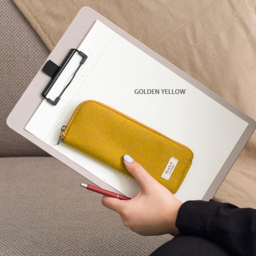 Golden yellow - Oxford half zip around pocket pencil pouch