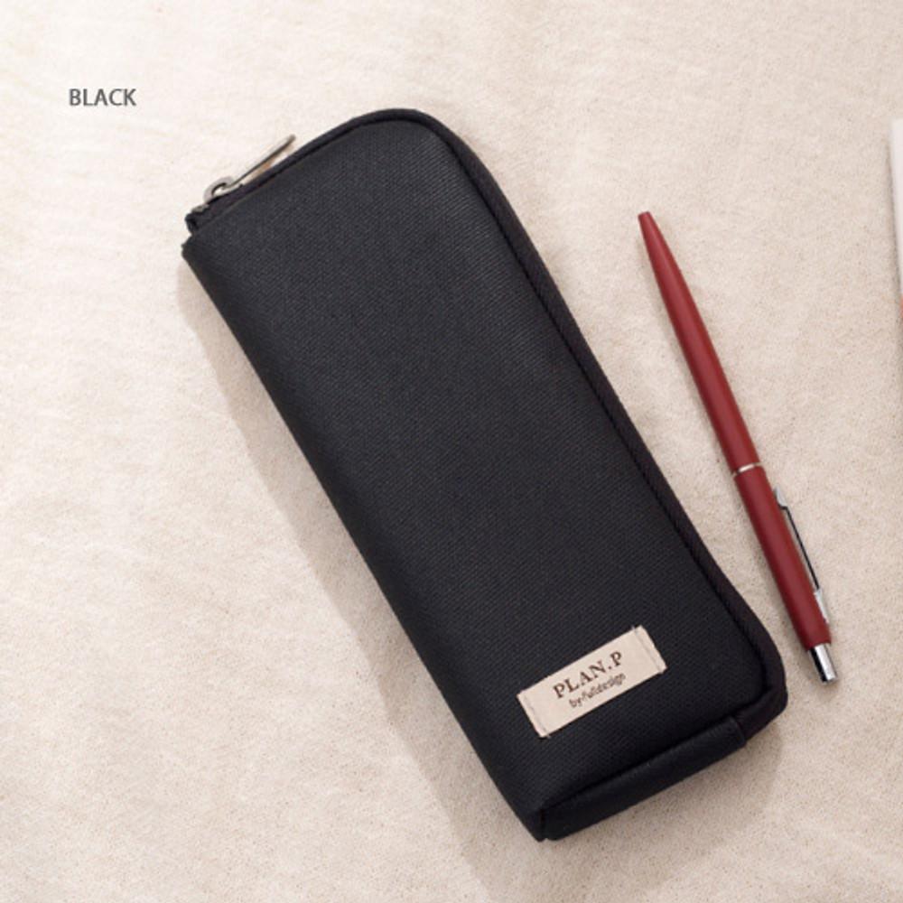 Black - Oxford half zip around pocket pencil pouch