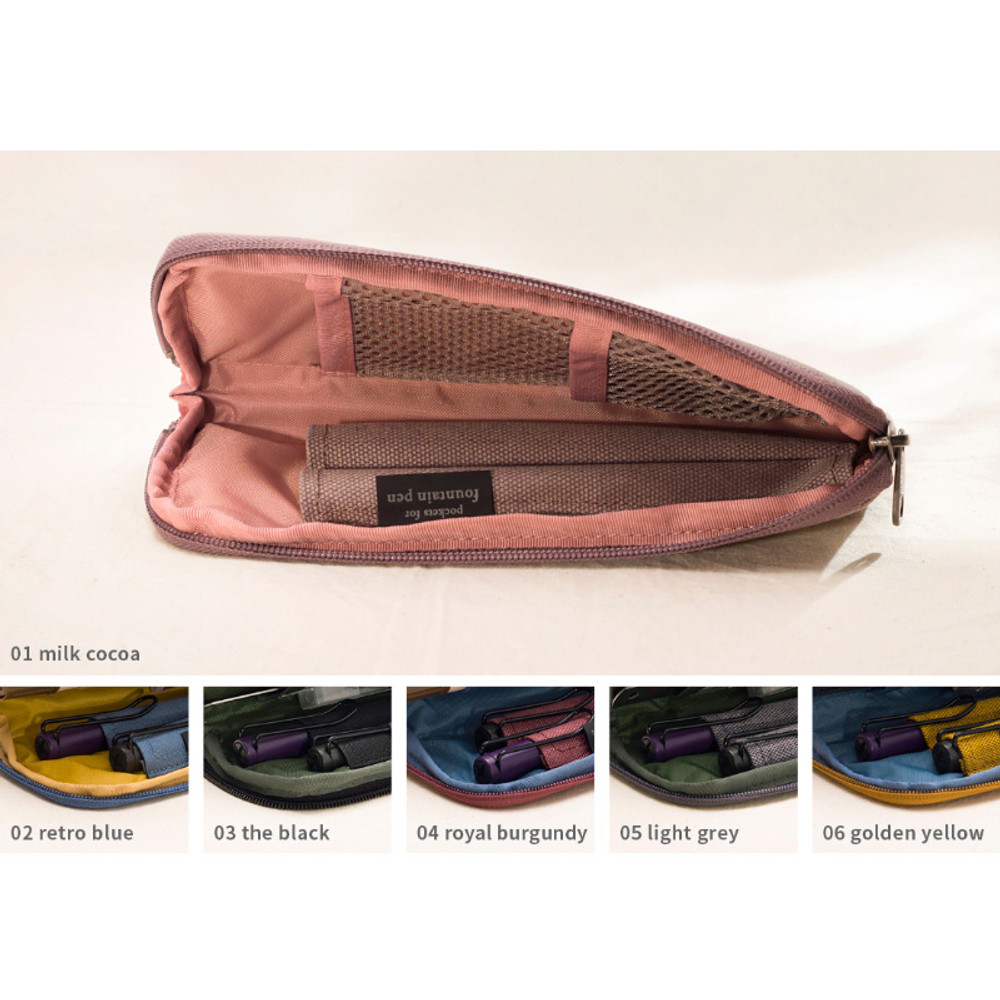 Inner color - Oxford half zip around pocket pencil pouch