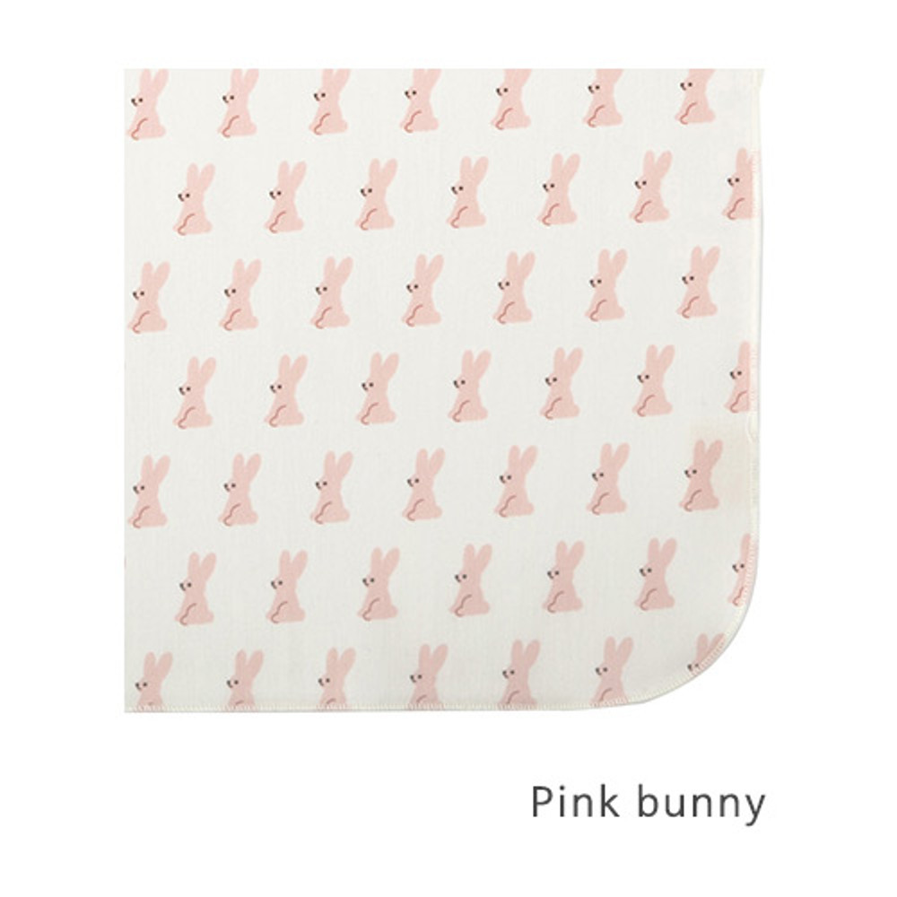 Pink bunny - Livework Illustration pattern rounded edge hankie handkerchief