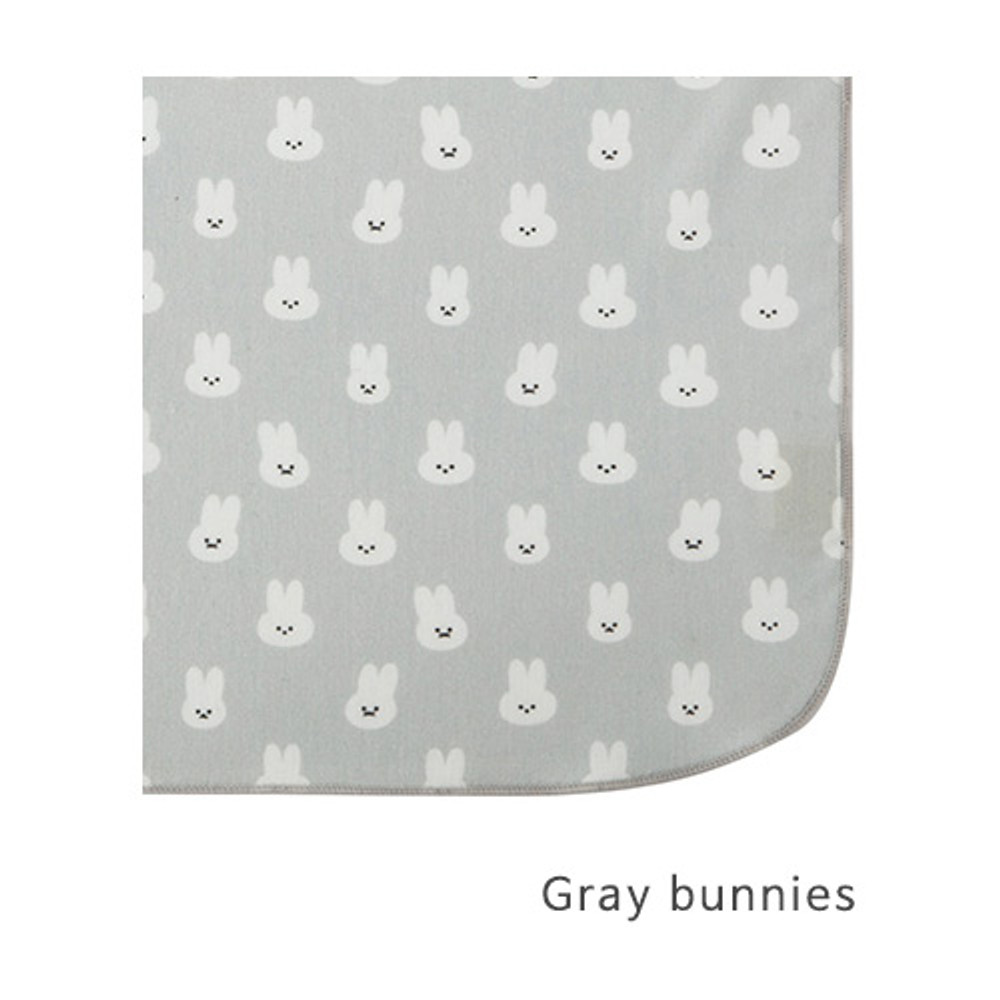 Gray bunnies - Livework Illustration pattern rounded edge hankie handkerchief
