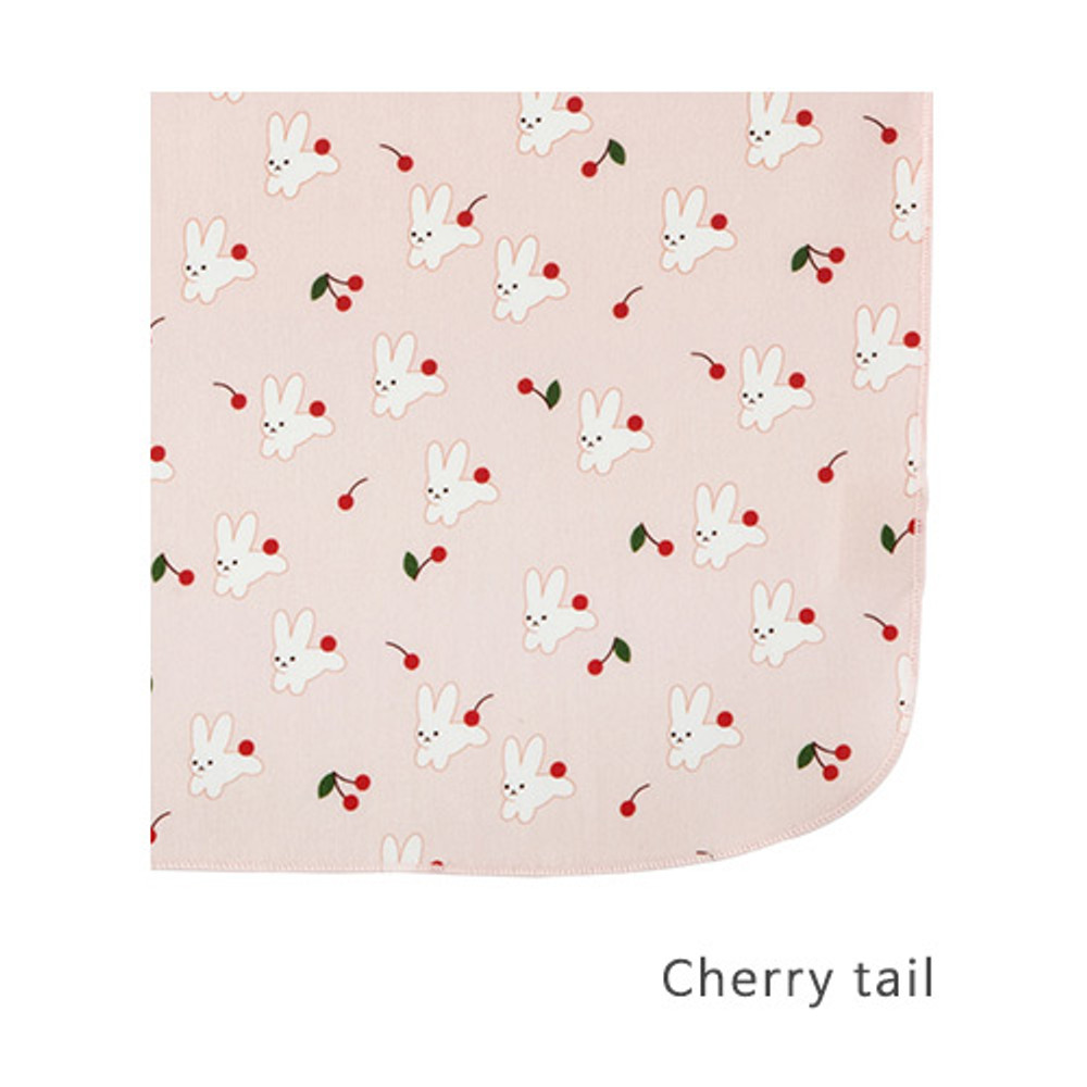 Cherry tail - Livework Illustration pattern rounded edge hankie handkerchief