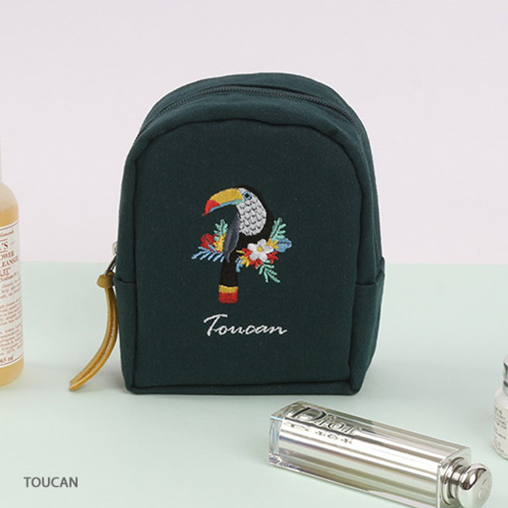 Toucan - Wanna This Tailorbird embroidered lipstick pouch bag ver3