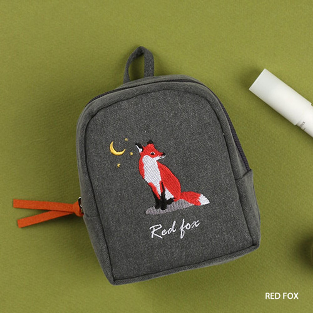 Red fox - Wanna This Tailorbird embroidered lipstick pouch bag ver3