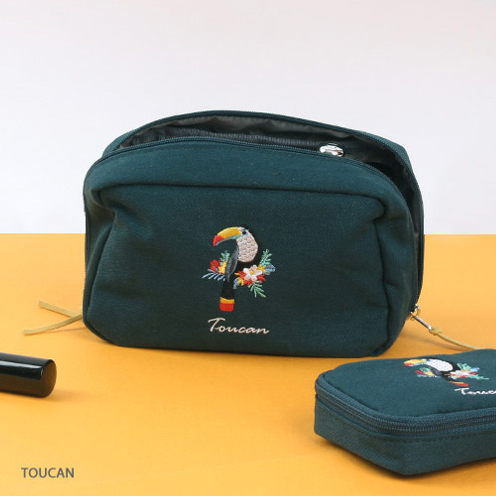 Toucan - Wanna This Tailorbird embroidered daily makeup pouch bag ver3