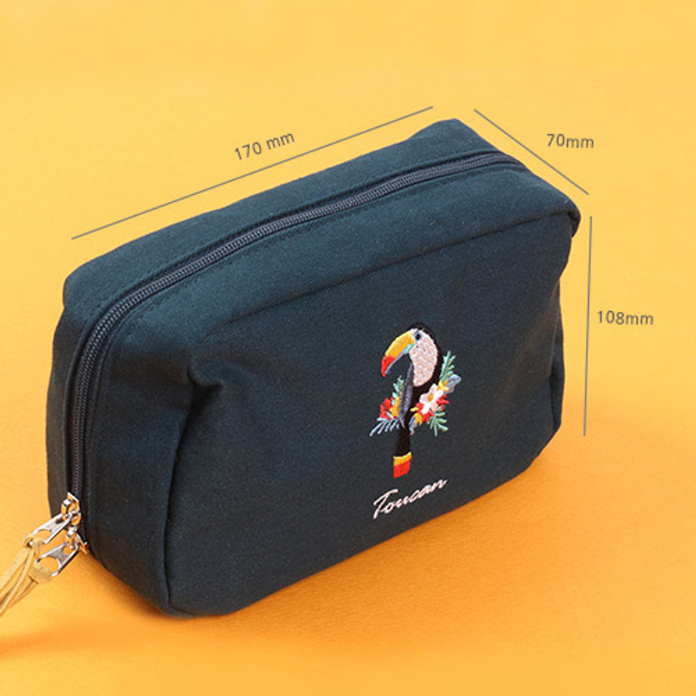 Size - Wanna This Tailorbird embroidered daily makeup pouch bag ver3