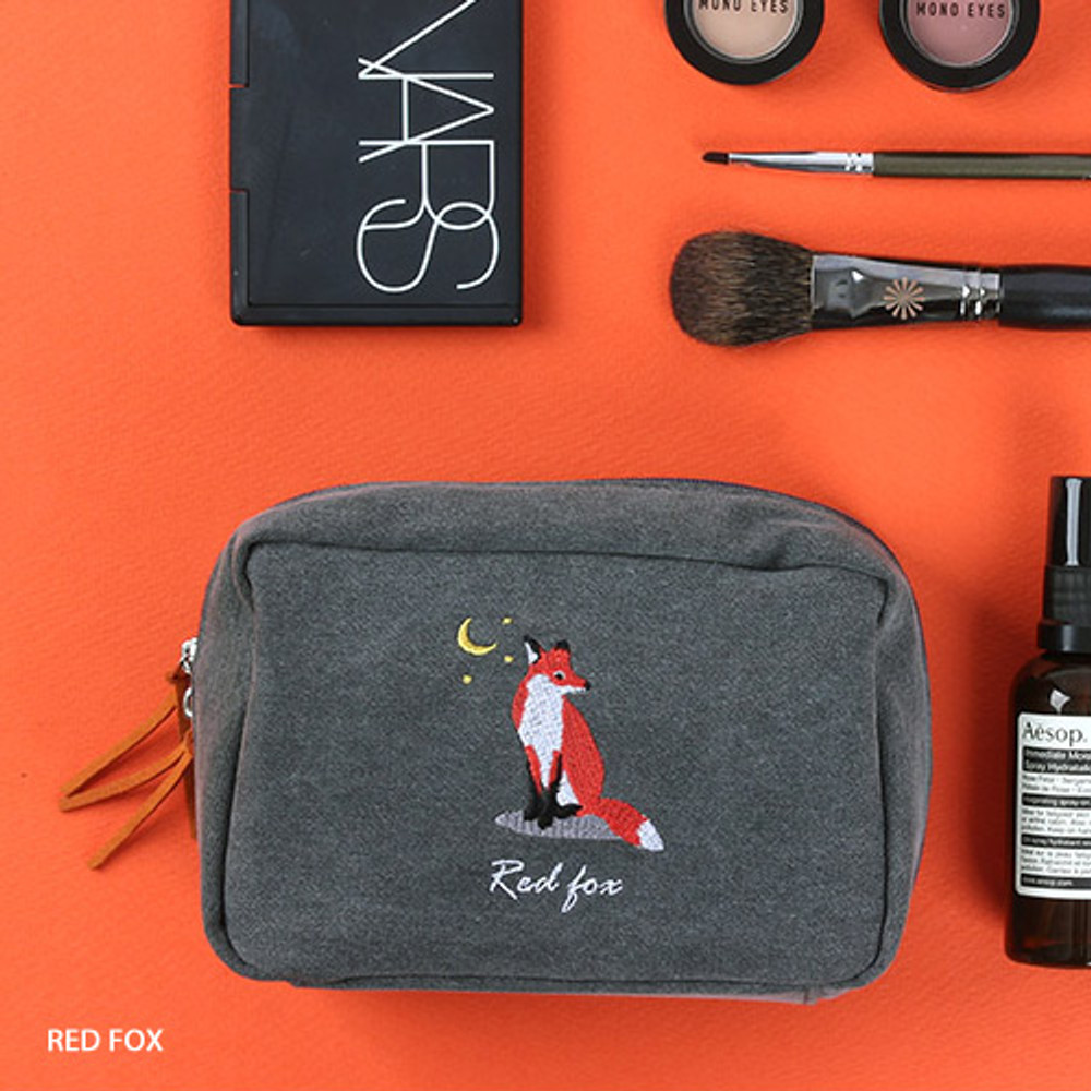Red fox - Wanna This Tailorbird embroidered daily makeup pouch bag ver3