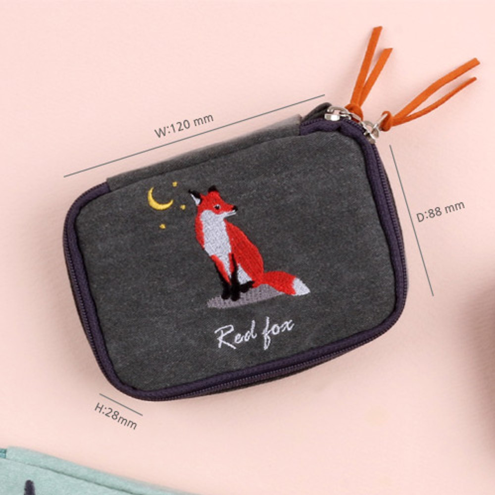 Size - Wanna This Tailorbird embroidered handy pouch bag ver3