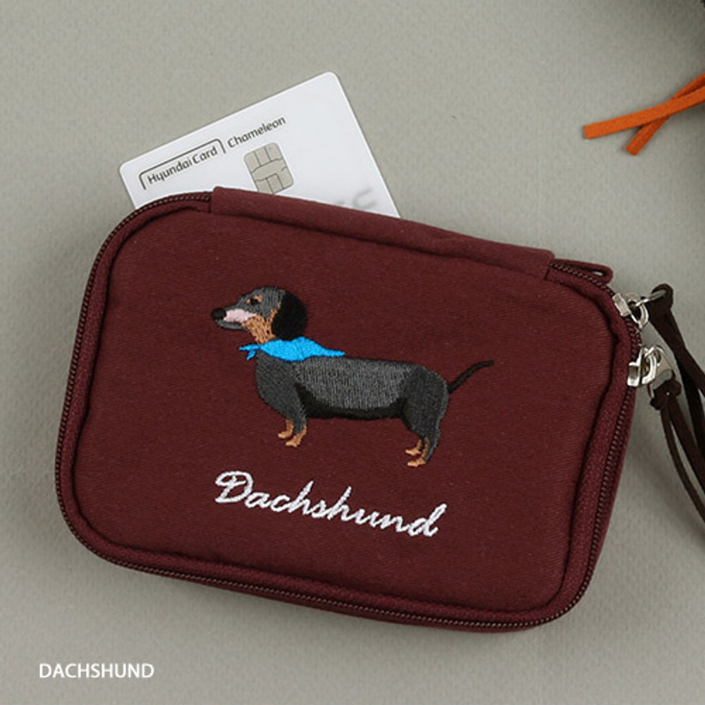 Dachshund - Wanna This Tailorbird embroidered handy pouch bag ver3