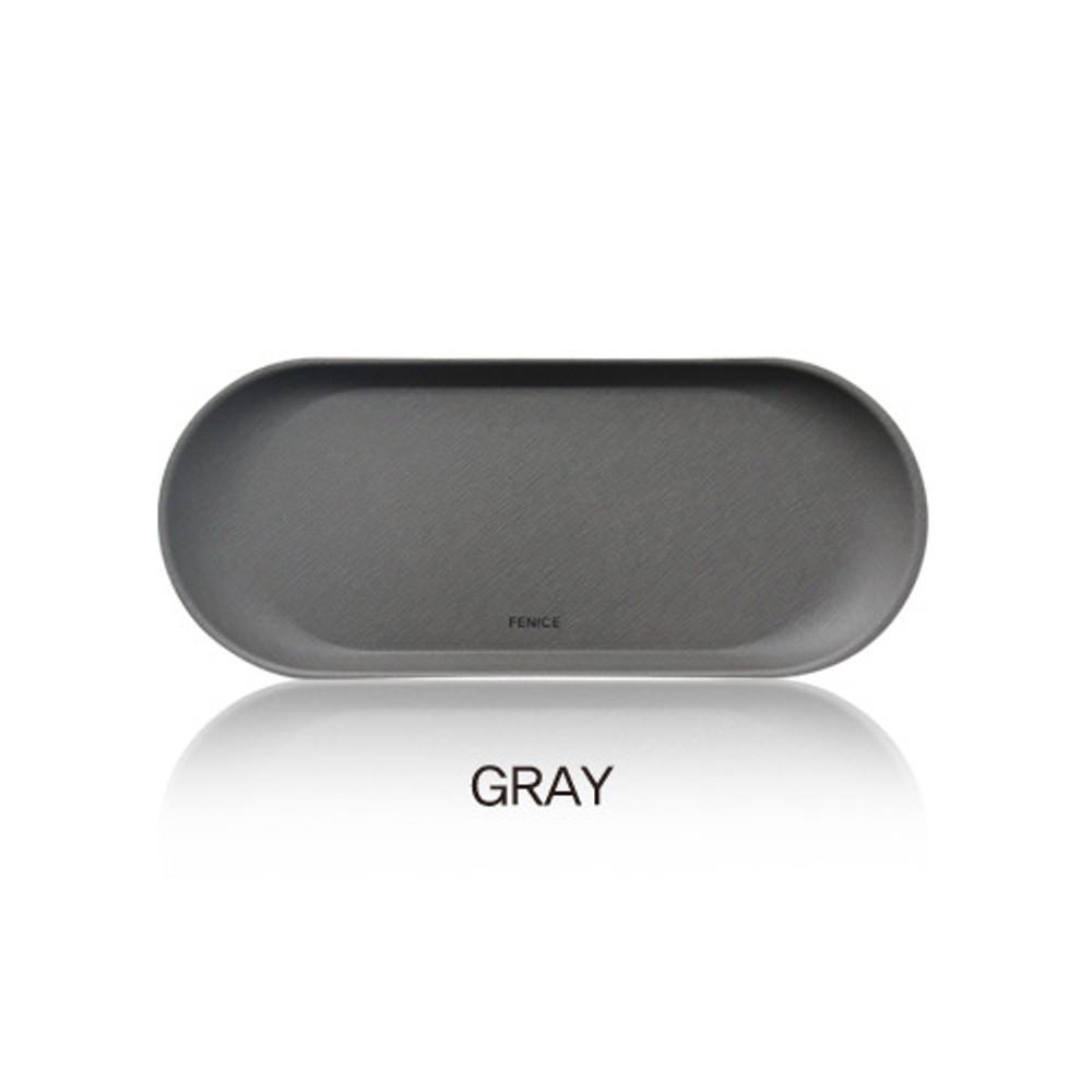 Gray - Fenice Premium business PU pencil pen tray