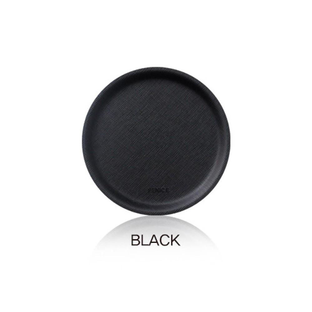 Black - Fenice Premium PU drink coaster small tray