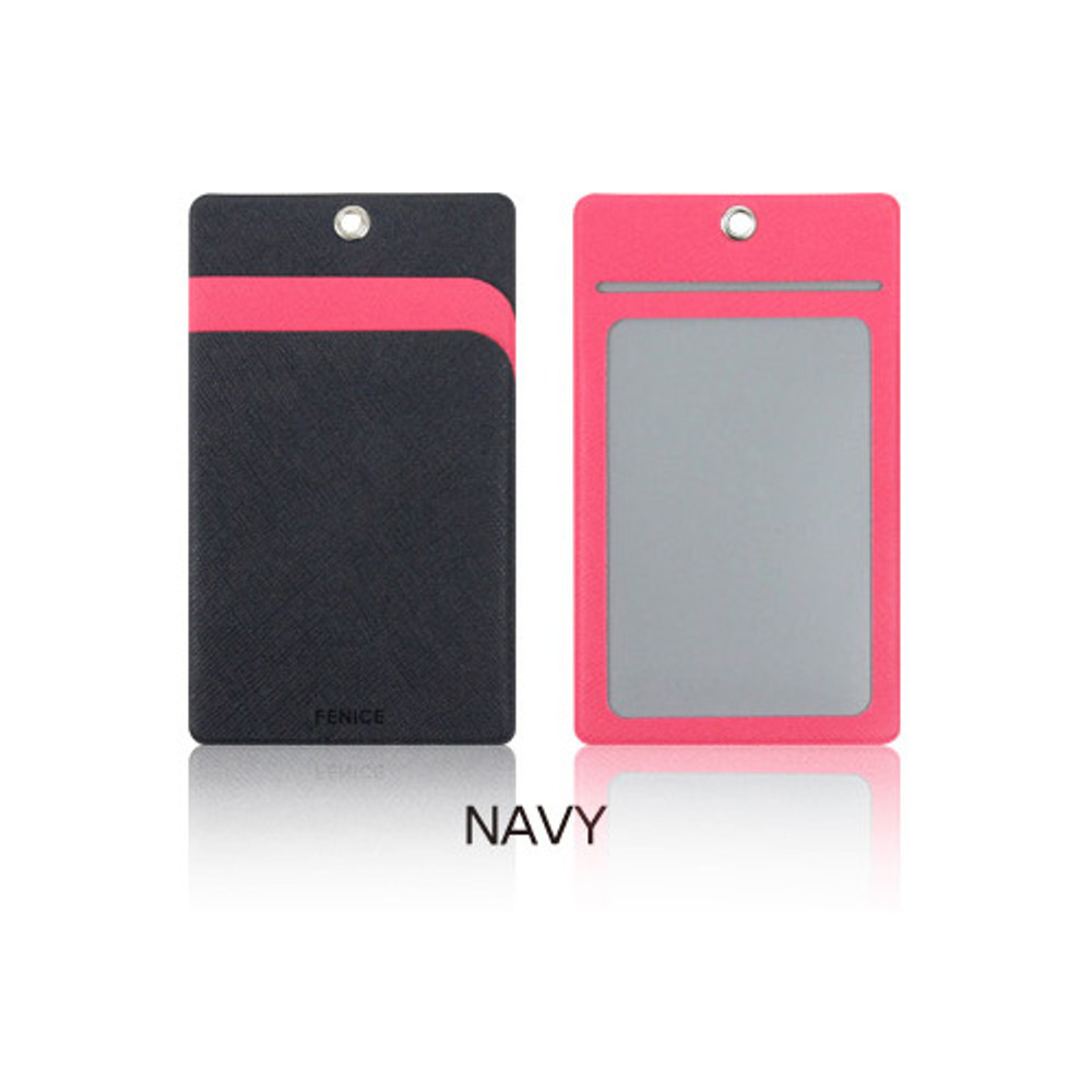 Navy - Fenice Premium PU business pocket card case with neck strap