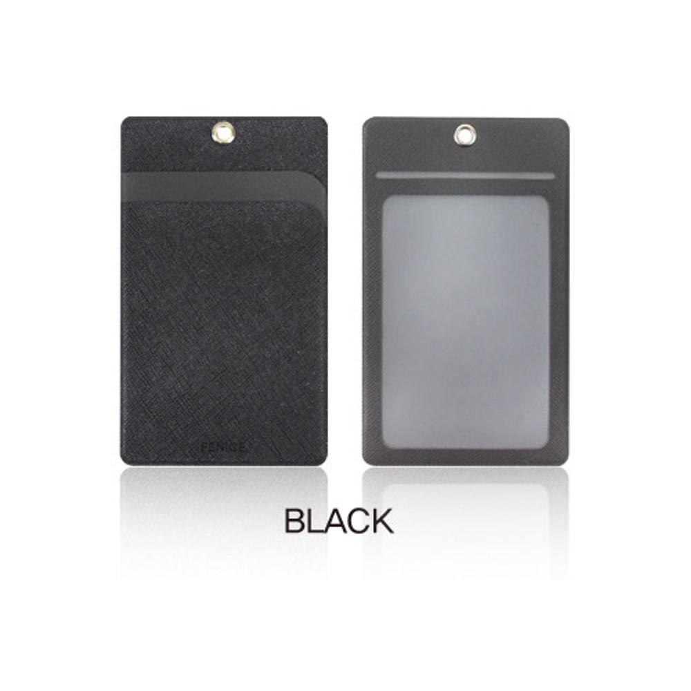 Black - Fenice Premium PU business pocket card case with neck strap