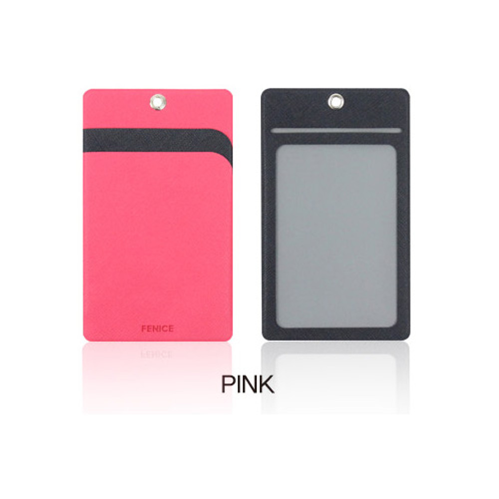 Pink - Fenice Premium PU business pocket card case with neck strap