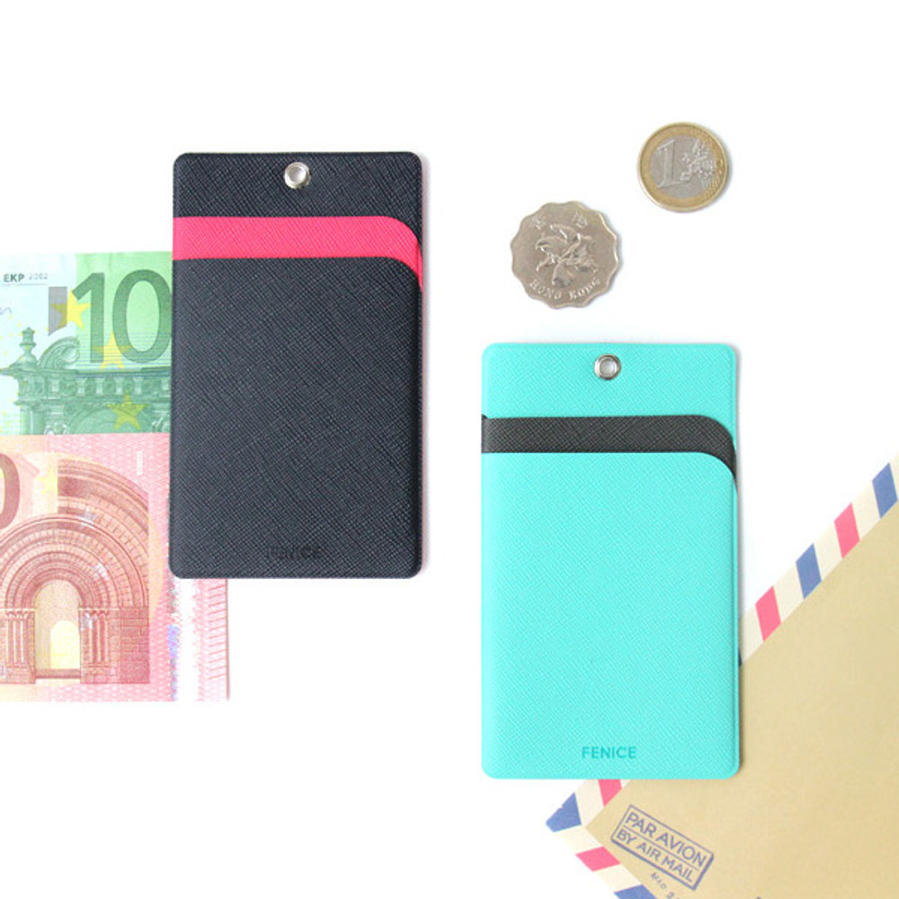 Example of use - Fenice Premium PU business pocket card case with neck strap