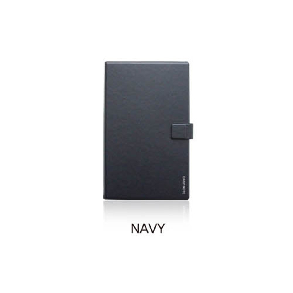 Navy - Fenice Premium business PU cover medium dotted notebook