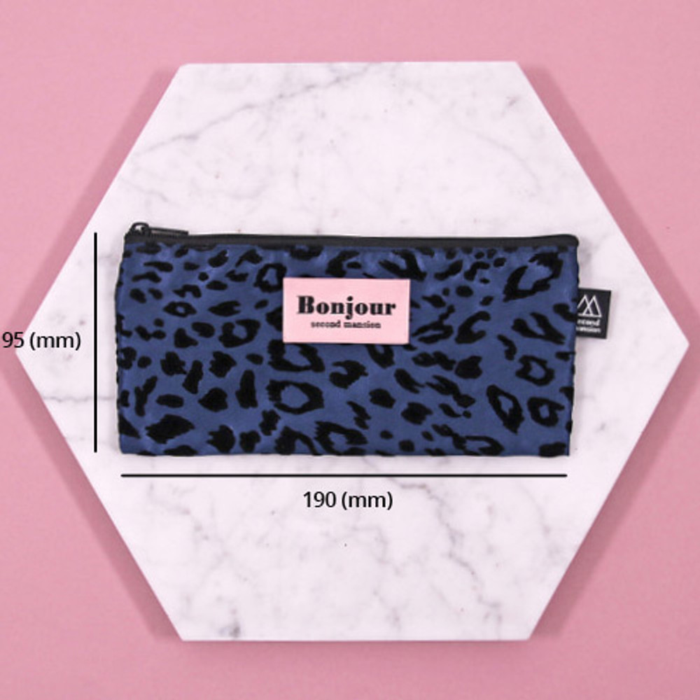 Size - Second Mansion Bonjour leopard zipper pencil pen case pouch