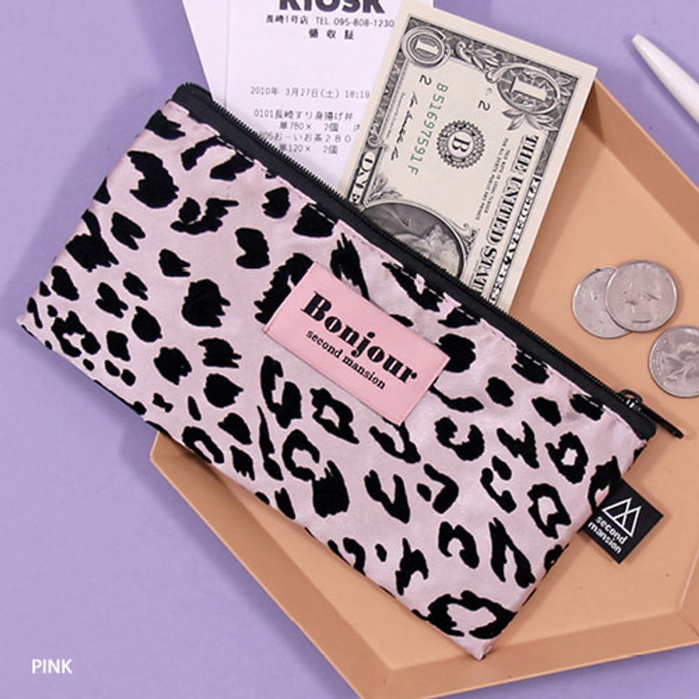 Pink - Second Mansion Bonjour leopard zipper pencil pen case pouch