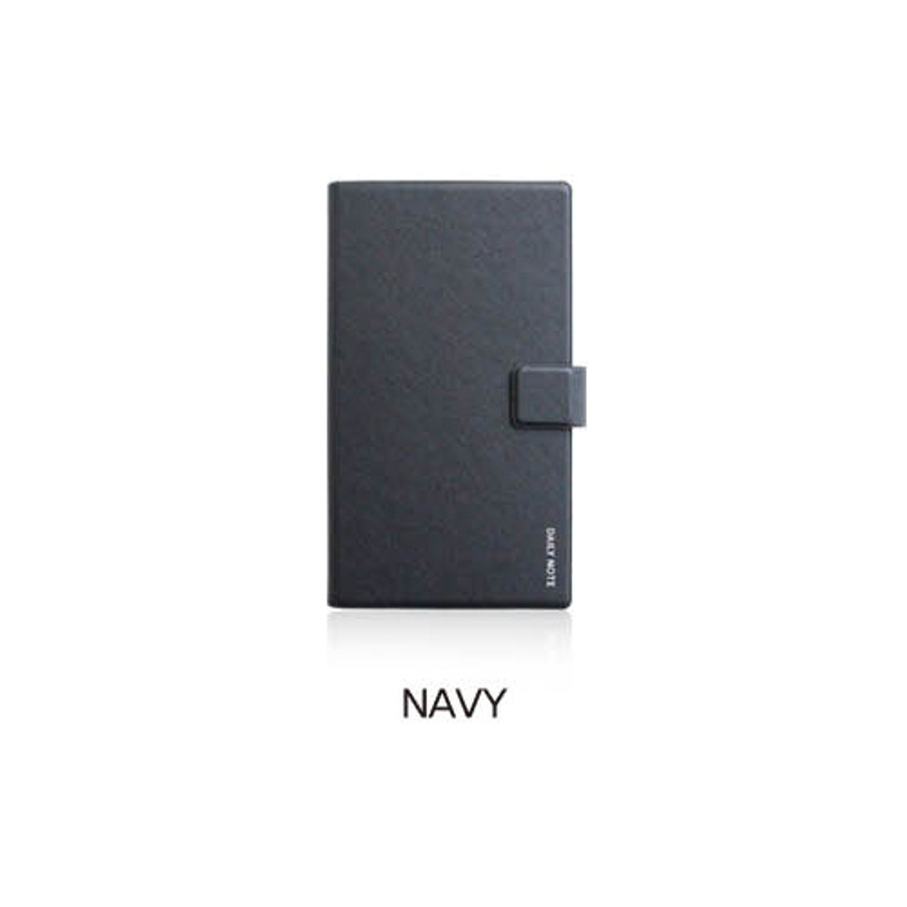 Navy - Fenice Premium business PU cover small dotted notebook
