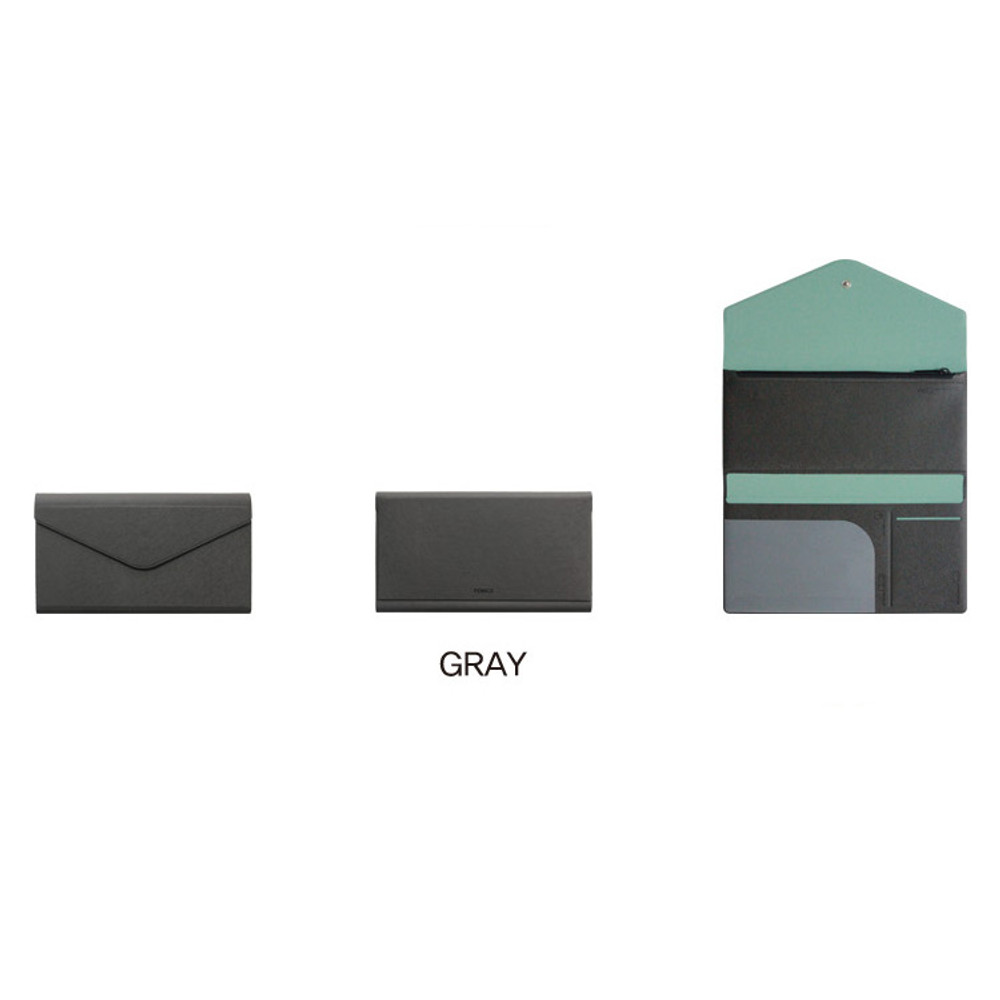 Gray - Fenice Premium PU large passport case holder zipper wallet