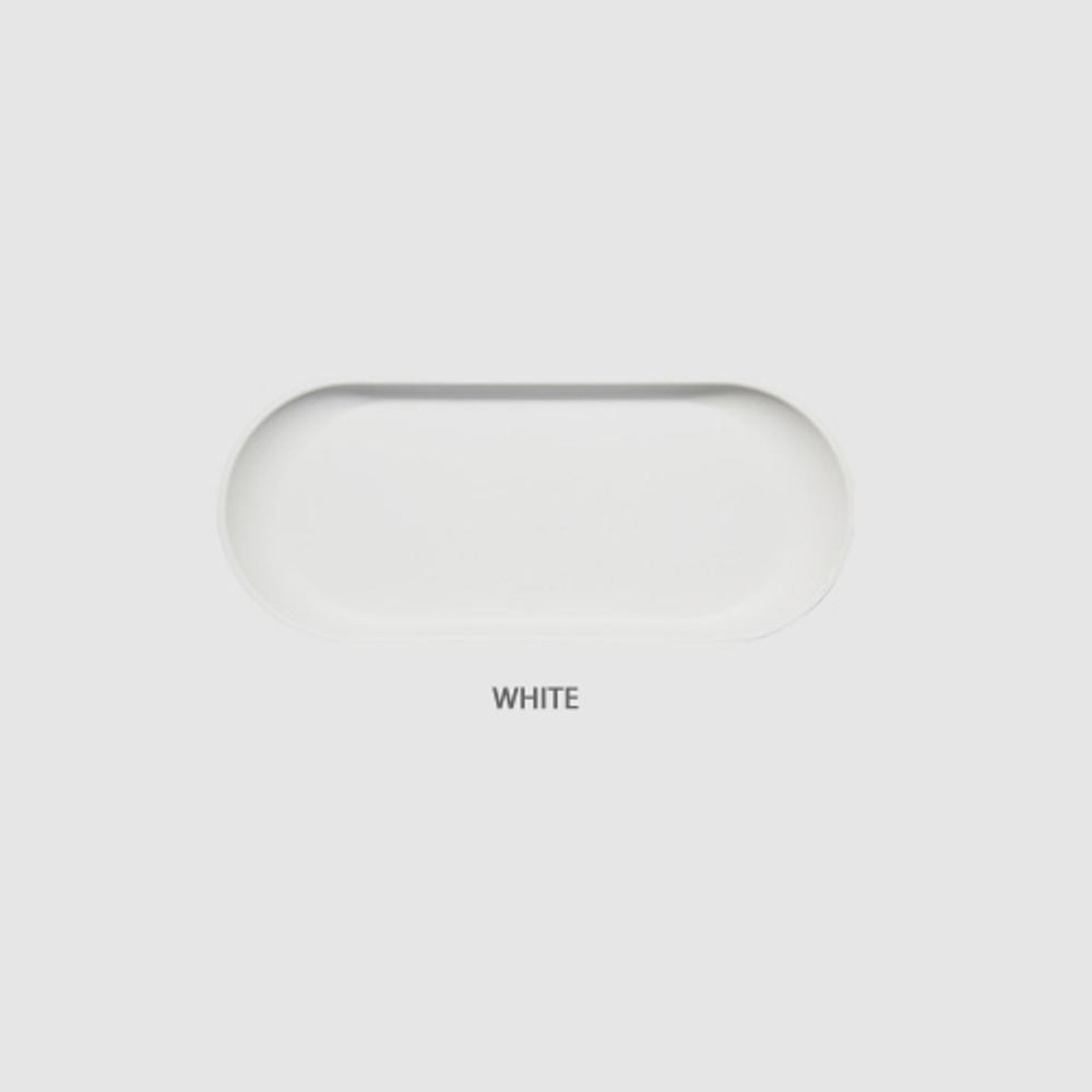 White - Fenice Premium PU leather decorative serving ellipse tray