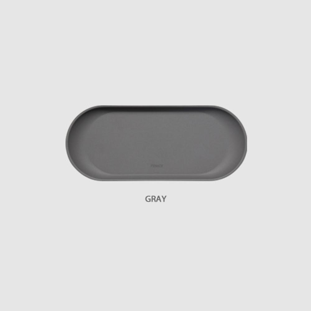 Gray - Fenice Premium PU leather decorative serving ellipse tray