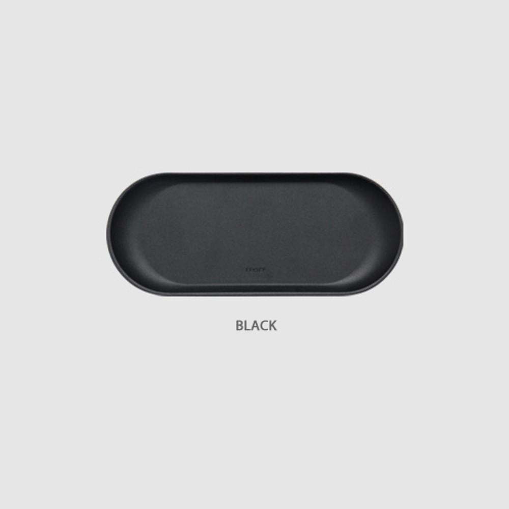 Black - Fenice Premium PU leather decorative serving ellipse tray