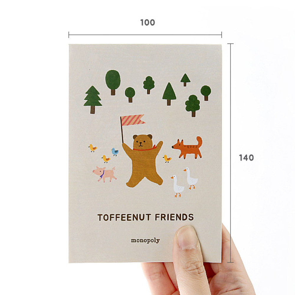 Size - Monopoly Toffeenut sweet and warm illustration letter memo notepad