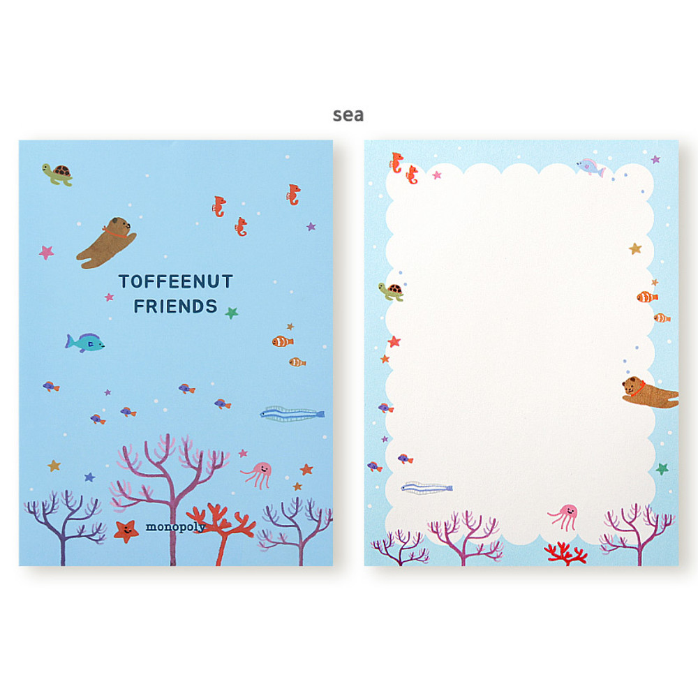 Sea - Monopoly Toffeenut sweet and warm illustration letter memo notepad