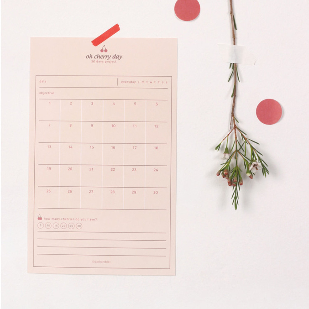 Example of use - Dash and Dot Oh cherry day 30 days goal planning tracker