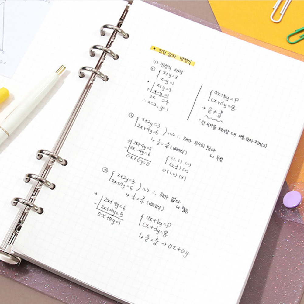 Example of use - Second Mansion Moonlight 6-ring A5 size grid notebook