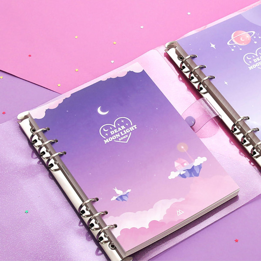 Twinkle PVC cover - Second Mansion Moonlight 6-ring A5 size grid notebook