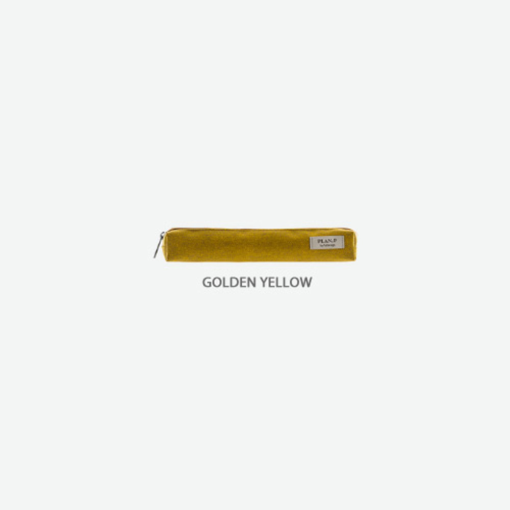 Golden yellow - Byfulldesign Oxford single zipper pencil case pouch ver4